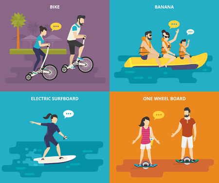 mom and dad: Family with kids concept flat icons set of riding bicycle, riding banana in the sea with children, surfing the wave on electrical surfboard and electric onewheel boarding. Active family time spending