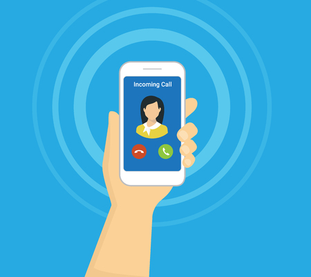 Incoming call on smartphone screen. Flat illustration for calling service. Hand holds smartphone with incoming call from his girlfriend. Flat icon for banners, websites and infographics Vettoriali