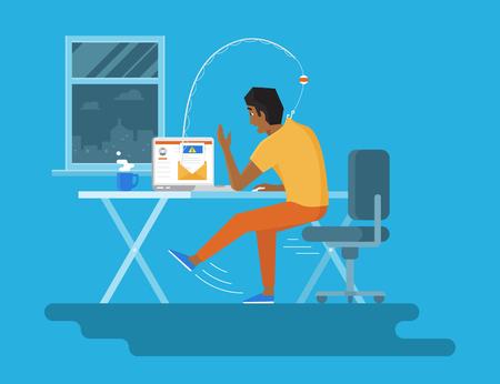 真夜中のラップトップと釣り竿に拾われて新しい e メールを読んでいる若い男の人。ウイルスの電子メールによるフィッシング攻撃の概念フラット