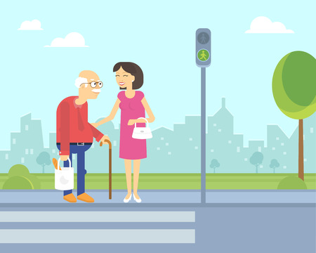 green road: Smiling woman takes care of old man to help him cross the road in the city on the green traffic light. Flat illustration of elderly people assistance and support outdoors
