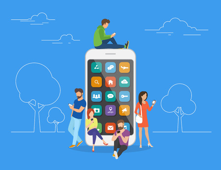 Young men and women are standing near big smartphone and using their own smart phones, reading news and texting message to friends. Flat concept illustration of smartphone usability on blue background