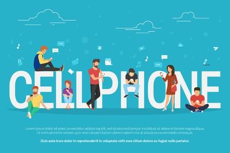 chat online: Cellphone concept illustration of young people using smartphones for social networking and websites usage. Flat design of guys and young women standing near big letters with social media symbols