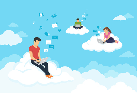 man using computer: Young people sitting on the clouds in the sky using laptop and typing messages to friends. Flat modern illustration of working, social networking, elearning and texting using cloud storage Illustration