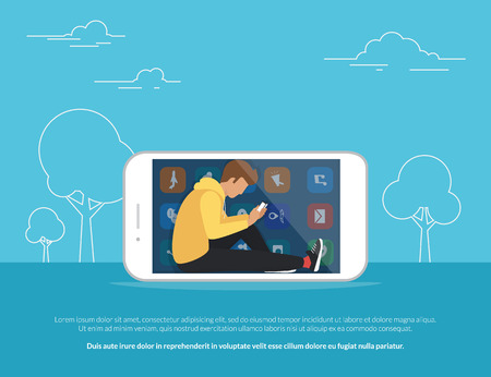 Young guy sitting into the big smartphone outdoors and using his own cellphone for social networking, texting, reading news and websites browsing. Flat concept illustration of smartphone addiction