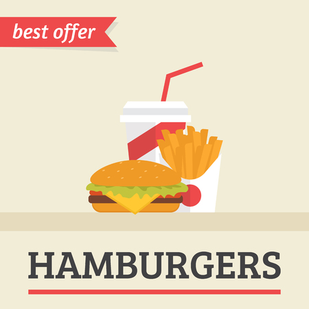 Lunch french fries, burger and soda takeaway. Flat illustration for hamburgers best offer, burger menu and other restaurants menu. Flat poster for fast food cafe and public kitchen
