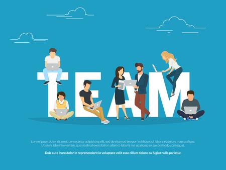 Progetto concetto di lavoro di squadra illustrazione di persone che lavorano insieme come squadra. Direttore, designer, programmatore e altri colleghi che utilizzano computer portatili. Design piatto per per il sito web banner e landing page Vettoriali