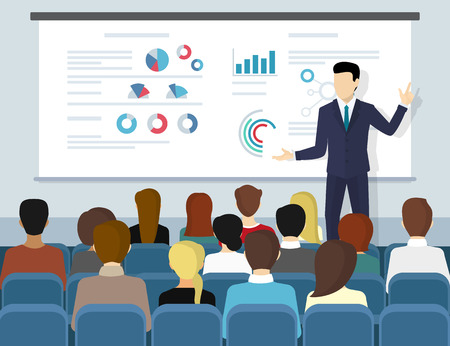 Business seminar speaker doing presentation and professional training about marketing, sales and e-commerce. Flat illustration of public conference and motivation for business audience Stock Vector - 60480441