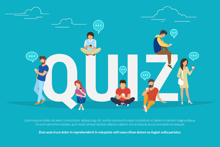 Quiz flat concept illustration of young people using mobile gadgets such smartphone for texting, messaging and sharing data between each other via internet near quiz big letters with speech bubbles