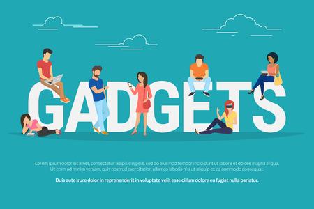 Gadgets Konzept Illustration der jungen Menschen Geräte wie Laptop, Smartphone, Tablets, Smart-Uhren und vr Helme. Flaches Design von Gadgets Sucht für Website Banner und Landingpage Standard-Bild - 60605214