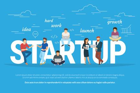 Startup koncepció lapos illusztráció üzletemberek dolgozó csapat, hogy indítson az üzletet. Fiatal férfiak van egy ötlete, programozó keményen dolgozik, a vezetők és mások elősegítik a projekt segítségével laptopok Illusztráció