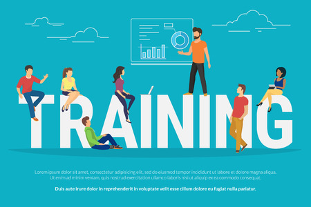 Training concept illustration of young people attending the professional training with skilled instructor. Flat design of guys and young women sitting on the big letters Vectores
