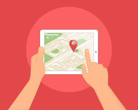 Human hands hold tablet pc with map and location pin. Mobile app for gps navigation and road route for traveling and direction planning