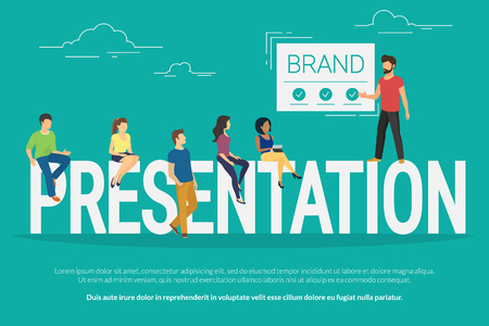 attending: Presentation concept illustration of young people attending the professional gathering and manager represented a new brand or concept. Flat design of guys and young women sitting on the big letters