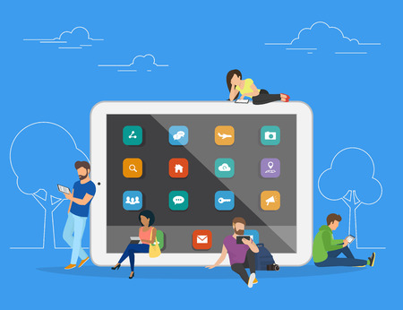 usability: Young men and women are standing near big tablet and using their own tablet computers, reading news and texting message to friends. Flat concept illustration of mobile gadgets usability on blue