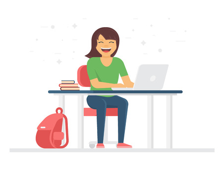 college girl: Young student or schoolgirl smiling and doing homework at home with laptop. Back to school flat illustration of young people who study in university or high school isolated on white Illustration
