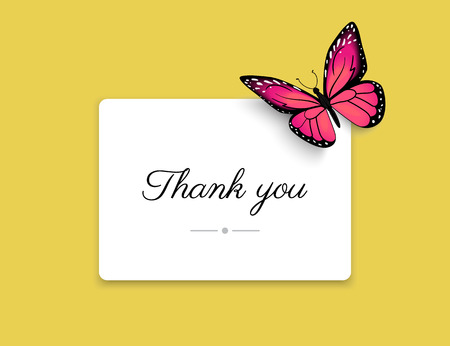 grateful: Thank you blank card with beautiful red butterfly on yellow background. Realistic card design for wedding invitation and decoration with the butterfly and shadows Illustration