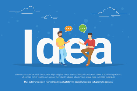 two men talking: Idea concept illustration of two young men talking about new business idea. Flat people sitting on the big letters idea with speech bubbles. Business header for startup or project