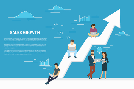 Business growth concept illustration of business people working together as team and sitting on the big arrow. Flat people working with laptops to develop business. Blue background with copy space Çizim