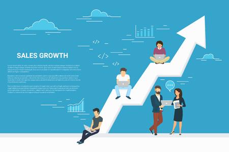Koncepce růstu podnikání ilustrace podnikatelů pracujících společně jako tým a sedí na velké šíp. Ploché osoby, které pracují s notebooky, aby rozvíjely své podnikání. Modré pozadí s kopií prostoru