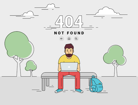 not working: 404 error page not found illustration of young man is sitting with laptop outdoors and seeing 404 error. Flat outlined illustration of upset guy working with laptop and getting problems with website Illustration