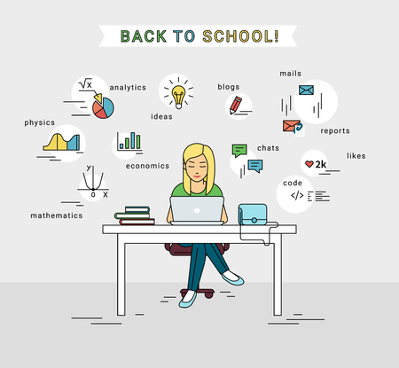 girl using laptop: E-learning and back to school illustration of young girl using laptop for distance studying and education. Flat woman sitting at the table and doing self learning with educational symbols around her. Illustration