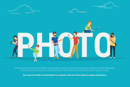 full length portrait: Photo concept illustration of young people using smartphones with sticks and lens camera for taking photos. Flat people standing and sitting near letters photo Illustration