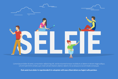 full length portrait: Selfie concept illustration of young students using smartphones with sticks for taking self photos. Flat people standing and sitting near letters selfie