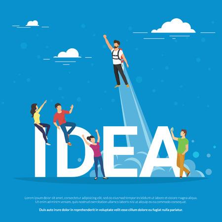 Idee concept illustratie van de mensen uit het bedrijfsleven samen te werken als team en het vieren van het succes van de startup. Flat mensen kijken naar de collega die een idee en stijgt in de lucht als een raket.