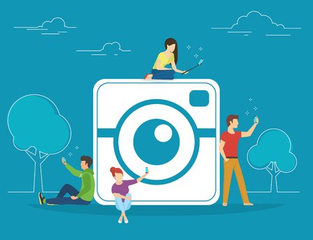 full length portrait: Self photo concept illustration of young people using smartphones with sticks for taking photos and posting it in socail networks. Flat people standing and sitting near big camera symbol