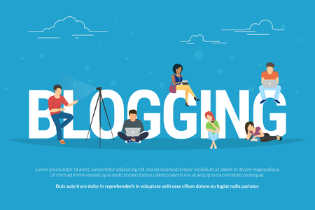 Blogging concept illustration of young people using laptops and tablets for reading blogs and websites. Flat design of guys and young women standing near big letters blogging on blue background