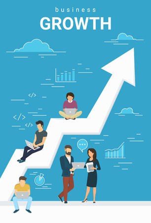 Business growth concept illustration of business people working together as team and sitting on the big arrow. Flat people working with laptops to develop business. Blue business poster