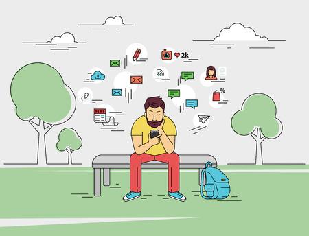 Jonge man zit met smartphone buitenshuis. Flat geschetst illustratie van een bericht te sturen via chat naar iemand via chat met sociale media tekenen zoals e-mail, chatten bellen, blog, nieuws om hem heen Stock Illustratie