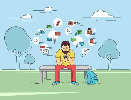 gente sentada: El hombre joven está usung su teléfono inteligente al aire libre. ilustración plana esbozado de enviar un mensaje a través de chat con alguien a través de chat con signos de medios sociales tales como el correo electrónico, las burbujas de chat, blog, noticias a su alrededor