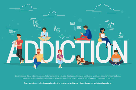 Addiction concept illustration of young people using devices such as laptop, smartphone, tablets. Flat design of people addicted to gadgets sitting on the bid letters with social media symbols