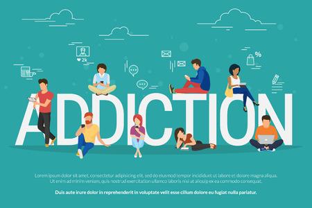 Koncepcja uzależnienia ilustracja młodych ludzi za pomocą takich urządzeń jak laptop, smartphone, tabletki. Płaski design ludzi uzależnionych od gadżetów siedzących na listach z symbolami społecznościowych mediów