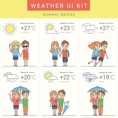 day forecast: Flat weather widgets set with cute couple in six variants such as sunny day, cloudy, windy and rain with storm. Summer ui kit in flat style for website weather forecast or mobile app Illustration