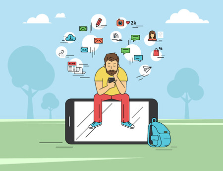 man using computer: Young man sitting on the big smartphone and texting messages using smartphone. Flat modern illustration of social networking, searching and sending email and texting to friends in social networks