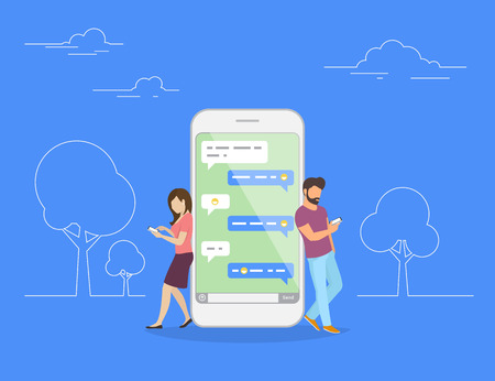 Chat talk concept illustration of young people using mobile smartphone for sending messages to each other. Flat design of guy and woman standing near big smartphone with speech bubbles in chat Çizim
