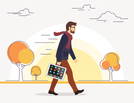 Business man going to his work with tablet pc instead of bag. Autumn season. Flat illustration of social media addiction to gadgets. Illustration