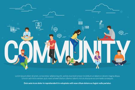 インター ネット コミュニティの一部とする smarthone、タブレットやノート パソコンなどのモバイル機器を使用して若者のコミュニティの概念図。記