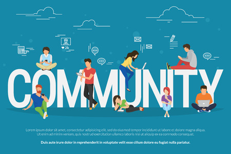 Community concept illustration of young people using mobile gadgets such as smarthone, tablet and laptop to be a part of internet community. Flat design of guys and young women on letters with symbols Stock Vector - 69741913