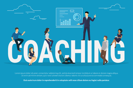 professional people: Coaching concept illustration of business people attending the professional training with professional high skilled coach. Flat design of guys and young women sitting on the big letters