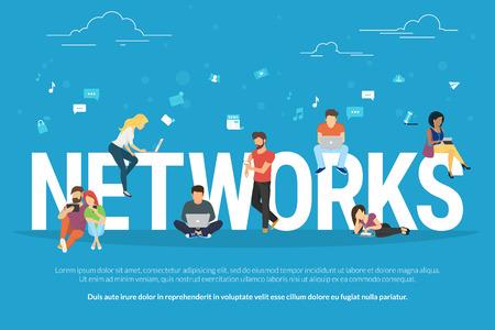 Netwerken concept illustratie van jongeren met behulp van mobiele gadgets zoals smartphone, tablet en laptop voor sociale netwerken. Vlak ontwerp van jongens en jonge vrouwen op brieven met sociale media symbolen Stock Illustratie