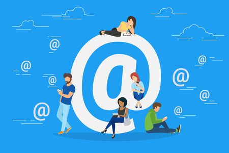 internet symbol: Symbol at concept illustration of young people using mobile gadgets such as tablet pc and smartphone for social networking and sharing via internet. Flat design of guys and women near big at symbol