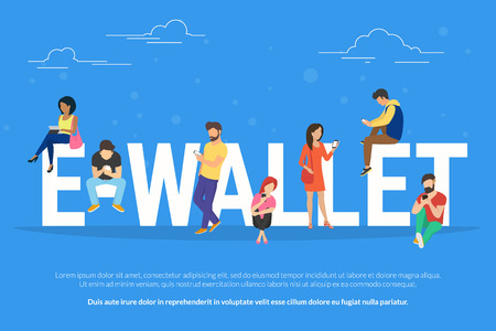 big letters: E-wallet concept illustration of young people using mobile gadgets such as tablet pc and smartphone for online purchasing via ewallet technology. Flat design of guys and women near big letters