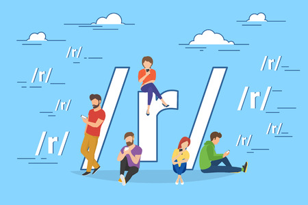 post teen: Social networking and blogging concep illustration of young people using mobile gadgets such as tablet pc and smartphone for sharing news via internet. Flat design of guys and women near big symbol Illustration