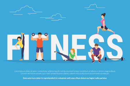big letters: Fitness concept illustration of young people doing workout with equipment. Flat design of guys and women training near big letters fitness. Sport banner for landing page or promotion