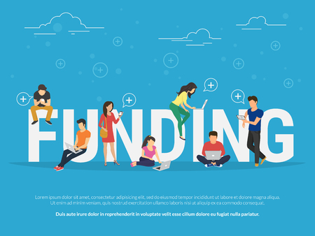 funding: Funding illustration of young people using laptop, tablet pc and smartphone for online funding new startup or making donation for project. Flat design of guys and women near big letters Illustration