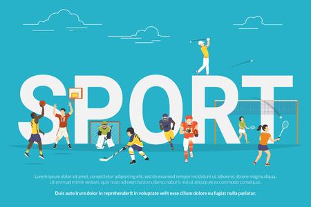 teen golf: Ilustración de concepto de deporte de los jóvenes que juegan baloncesto, hockey, golf y fútbol. Diseño plano de chicos y mujeres que participan en la competencia cerca de grandes letras.