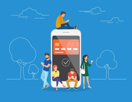 Illustrazione di concetto di portafoglio elettronico di giovani che utilizzano smartphone mobile per l'acquisto online tramite ewallet. Giovani uomini e donne in piano sono in piedi vicino al grande smartphone con la carta di credito sullo schermo Vettoriali